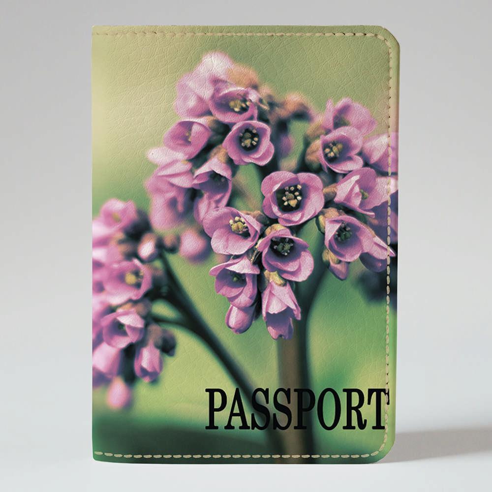 Обложка на паспорт v.1.0. Fisher Gifts 249 Фиолетовые бутончики. Цветы (эко-кожа)