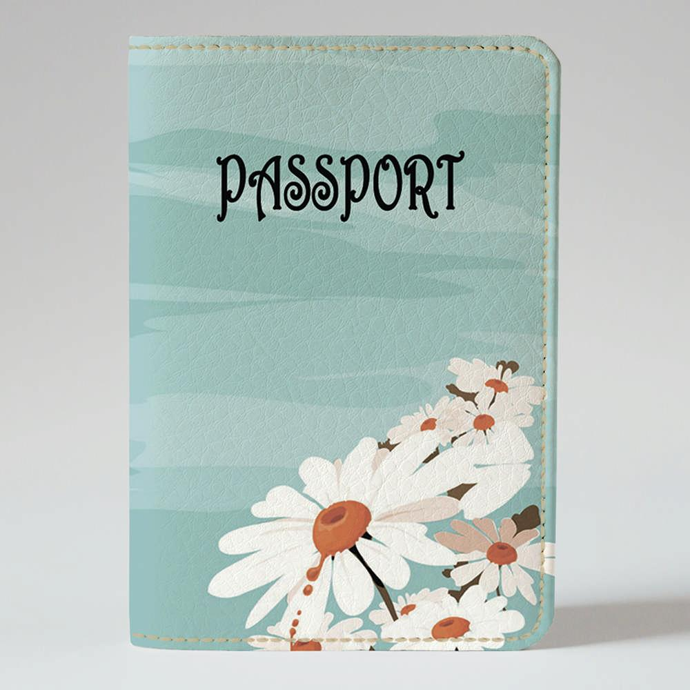 Обложка на паспорт v.1.0. Fisher Gifts 260 Ромашки и голубое небо (эко-кожа)