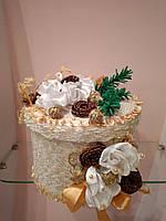 Новогодняя коробка для подарка текстильная