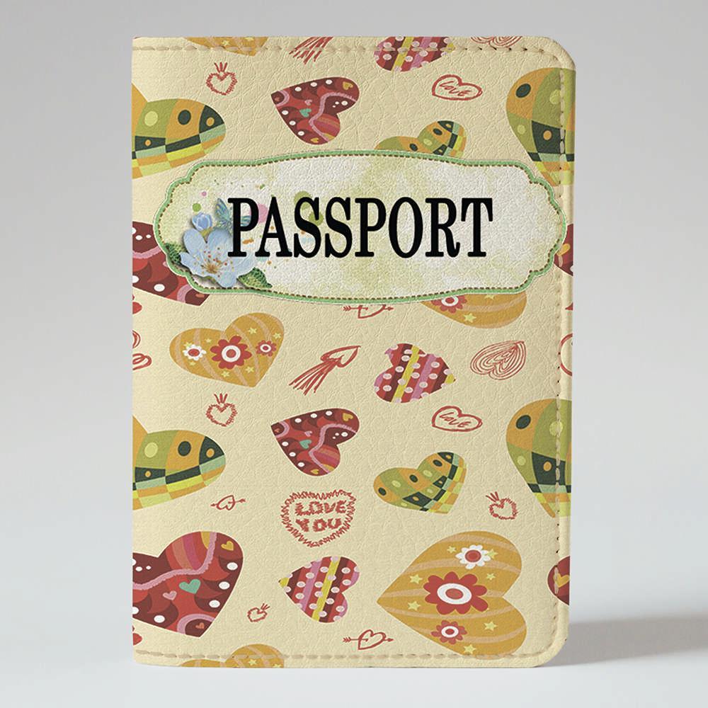 Обложка на паспорт v.1.0. Fisher Gifts 308 Сердечка Love you (эко-кожа)