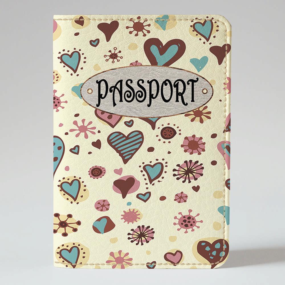 Обложка на паспорт v.1.0. Fisher Gifts 313 Прикольные сердечки фон (эко-кожа)