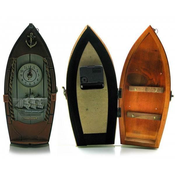 Ключница деревянная с часами Лодка