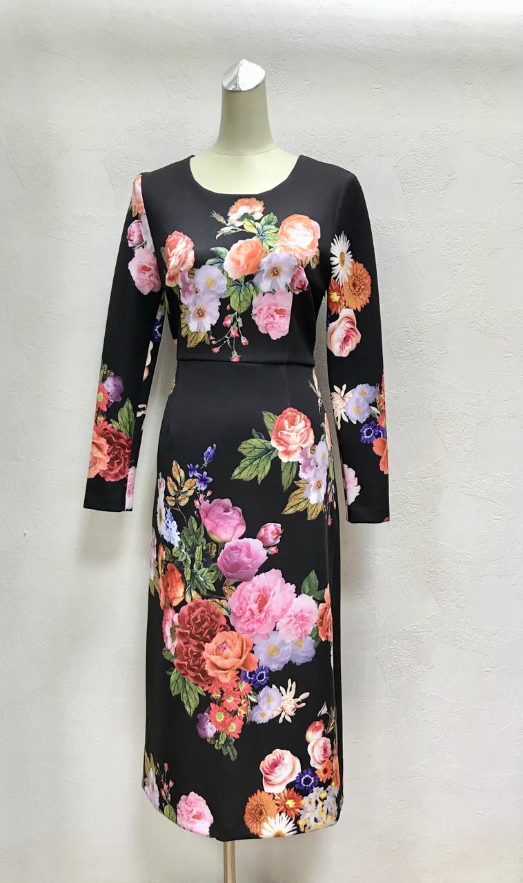 Платье в цветах миди с длинным рукавом Dolce&Gabbana