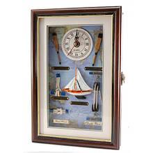 Ключница с часами деревянная Морская