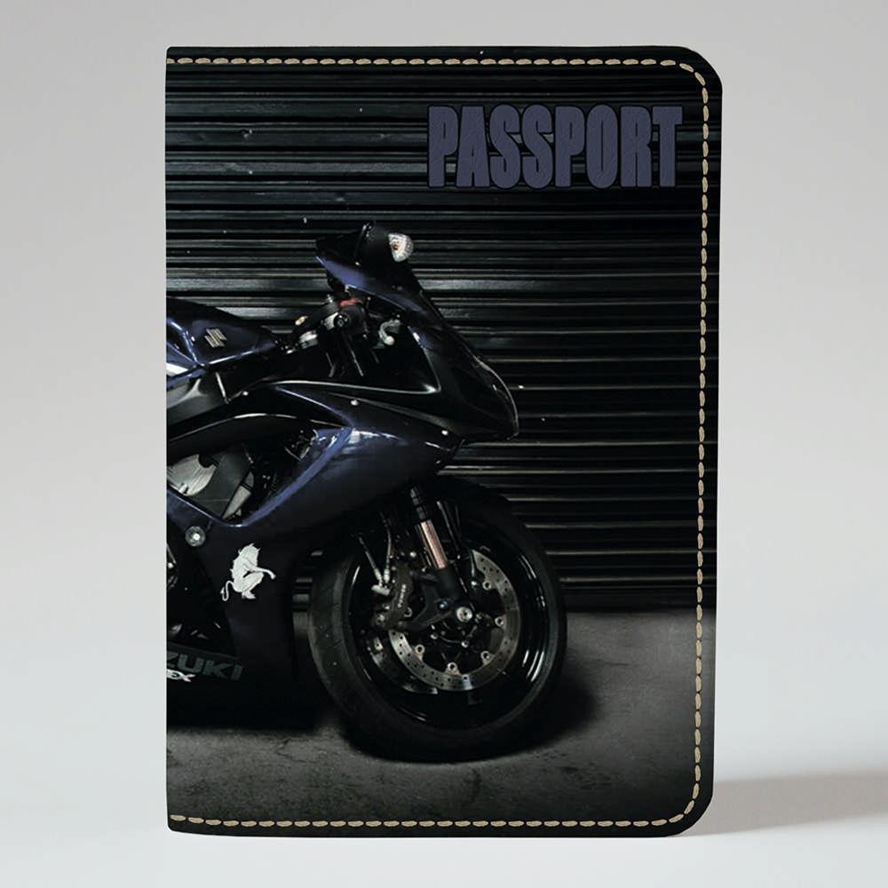 Обложка на паспорт Fisher Gifts 379 Синий мотоцикл (эко-кожа)