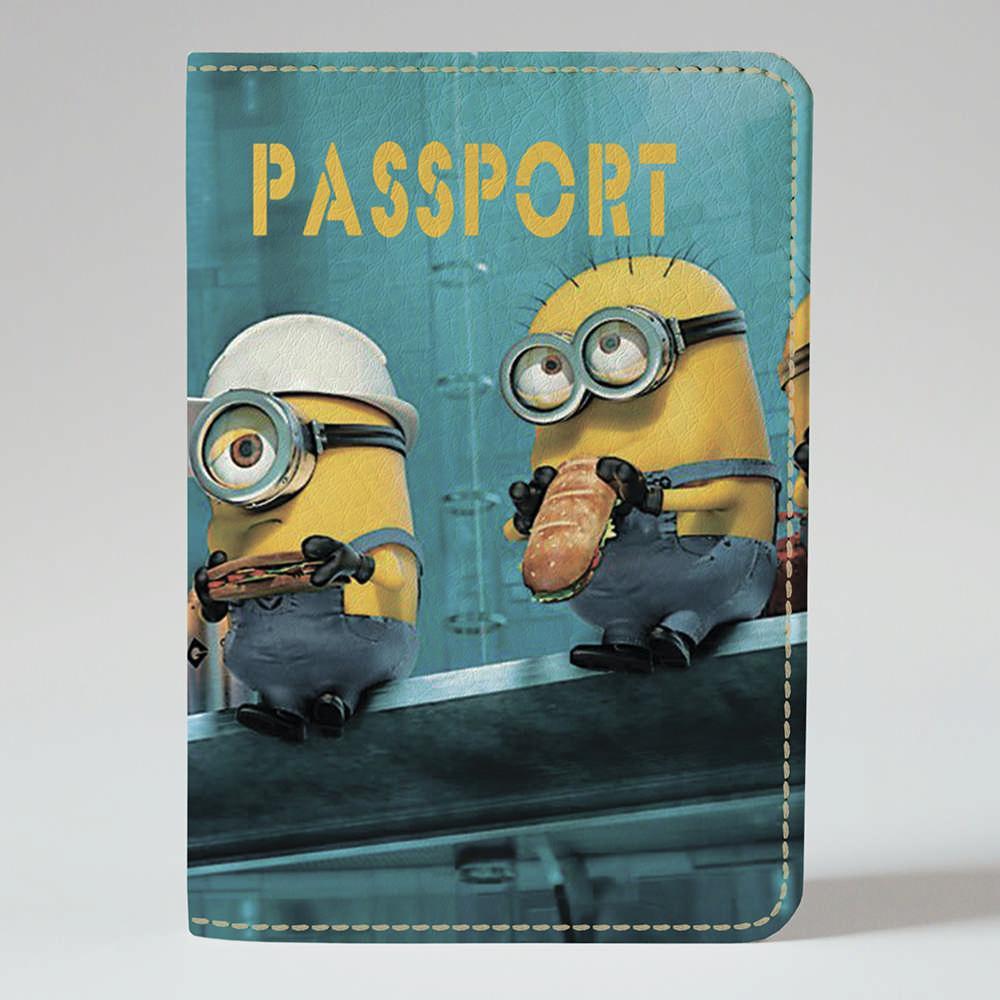 Обложка на паспорт v.1.0. Fisher Gifts 386 Ланч у миньонов (эко-кожа)