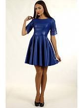Женское платье из эко-кожи и рукавом из гипюра 44р