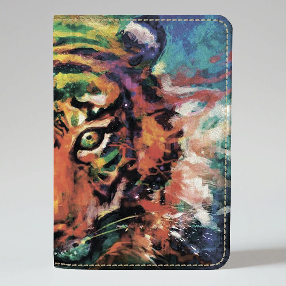 Обложка на паспорт Fisher Gifts 447 Красочный тигр (эко-кожа)
