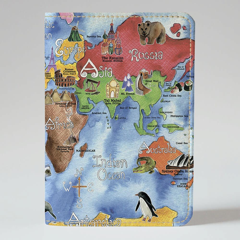 Обложка на паспорт v.1.0. Fisher Gifts 560 Наша с тобой карта мира (эко-кожа)