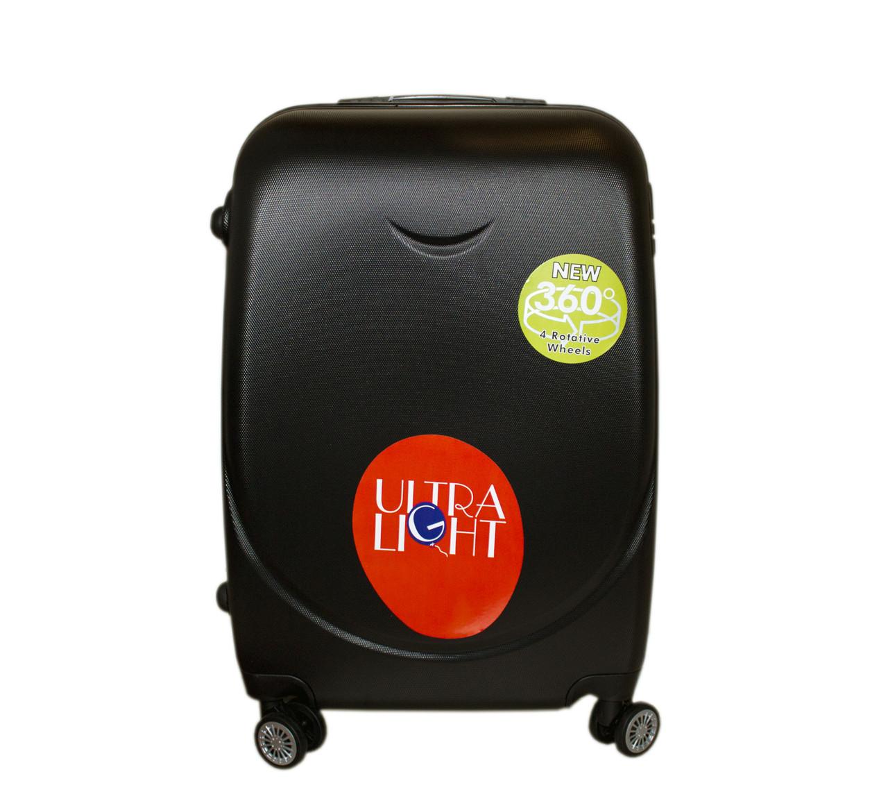 Дорожный чемодан с двойными 4 колесами (средний) черный, артикул: 6-243