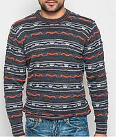 Мужской теплый свитер  - т.серый