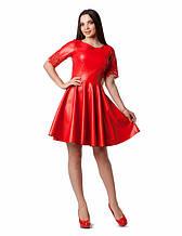 Женское платье из эко-кожи и рукавом из гипюра 44 - 46р