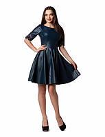 Женское платье из эко-кожи и рукавом из гипюра 46р