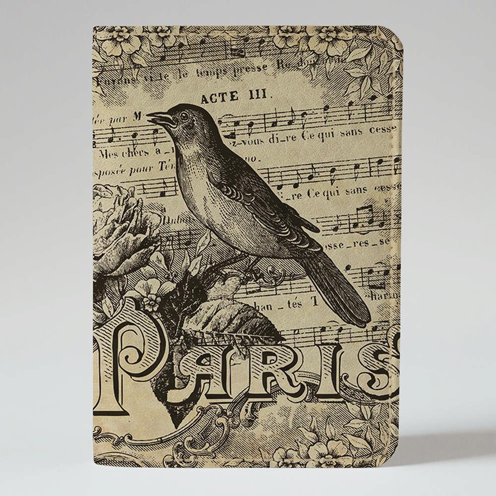 Обложка на паспорт v.1.0. Fisher Gifts 668 Ноты и птица (эко-кожа)