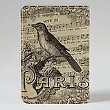 Обложка на паспорт v.1.0. Fisher Gifts 668 Ноты и птица (эко-кожа), фото 2