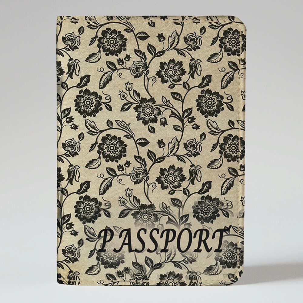 Обложка на паспорт v.1.0. Fisher Gifts 670 Черно-белые цветы фон (эко-кожа)