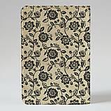 Обложка на паспорт v.1.0. Fisher Gifts 670 Черно-белые цветы фон (эко-кожа), фото 2