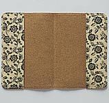 Обложка на паспорт v.1.0. Fisher Gifts 670 Черно-белые цветы фон (эко-кожа), фото 3