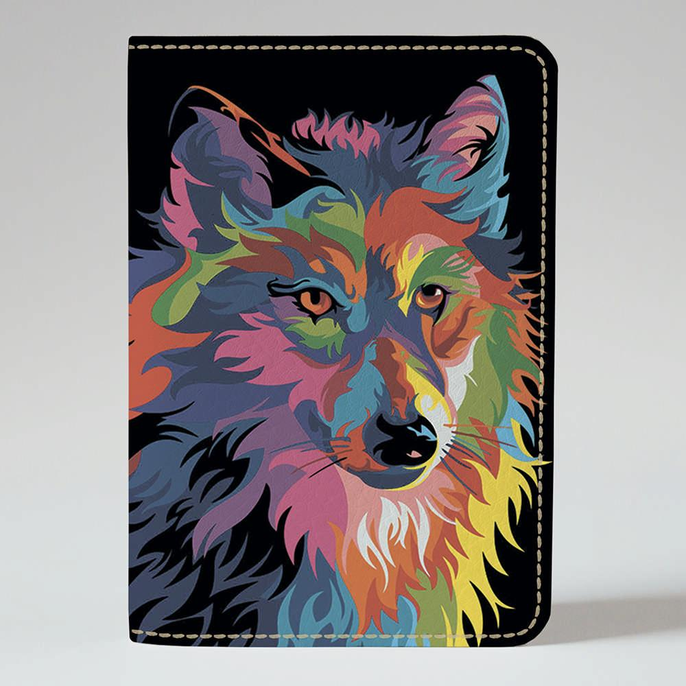 Обложка на паспорт v.1.0. Fisher Gifts 699 Разноцветный волк (эко-кожа)