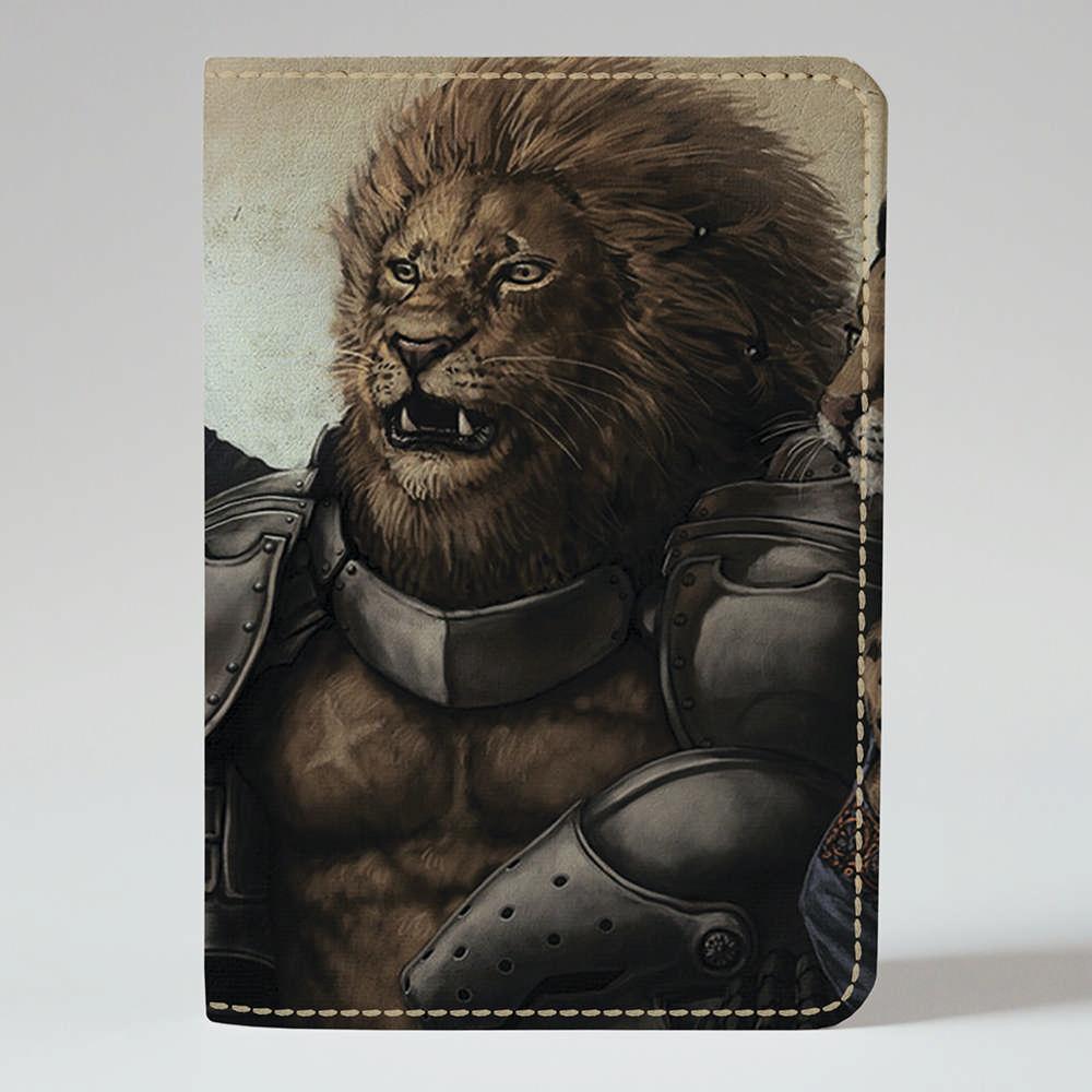 Обложка на паспорт v.1.0. Fisher Gifts 706 Боевые львы арт (эко-кожа)