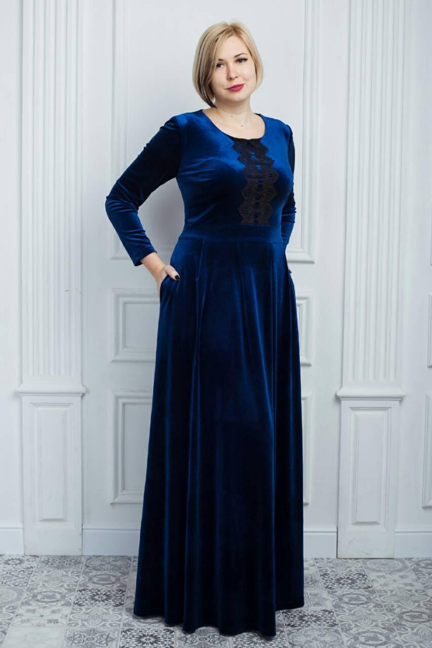 ac3f4d8371fd6e3 Синее бархатное платье с кружевом в пол: продажа, цена в Хмельницком ...
