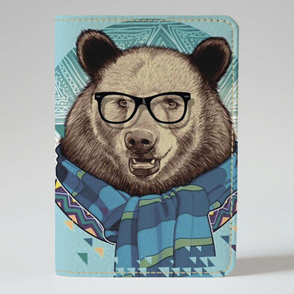 Обложка на паспорт v.1.0. Fisher Gifts 774 Медведь стиляга в очках (эко-кожа)
