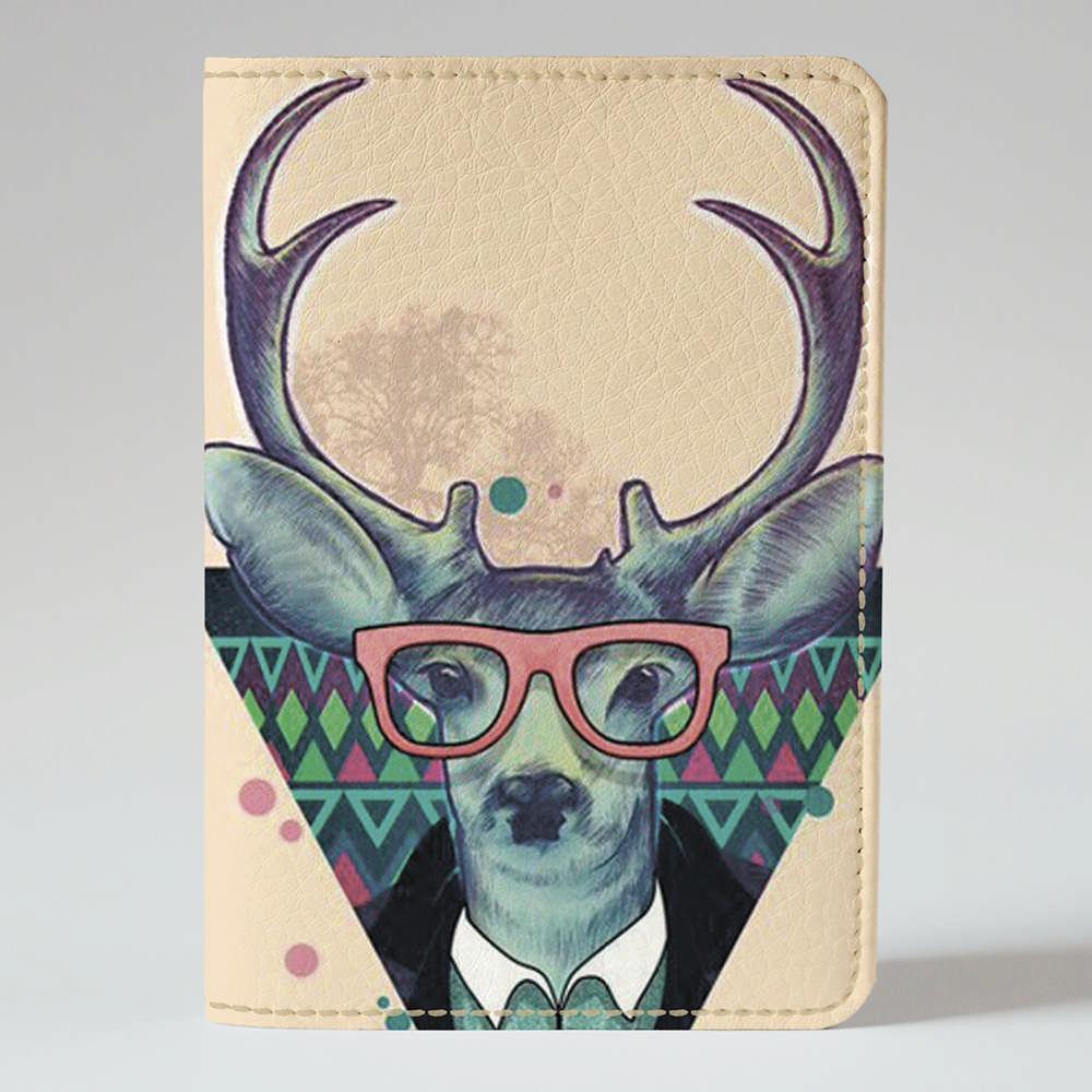 Обложка на паспорт v.1.0. Fisher Gifts 773 Олень хипстер (эко-кожа)