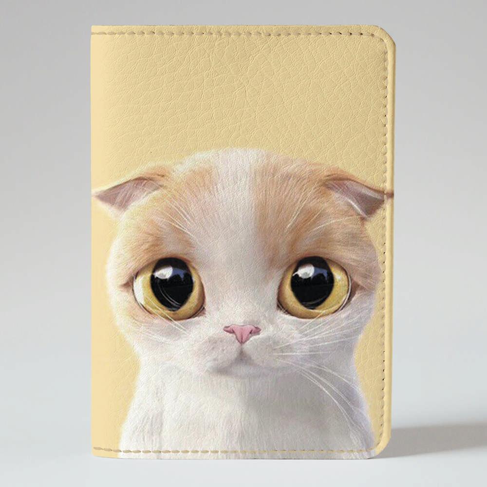 Обложка на паспорт v.1.0. Fisher Gifts 788 Бело-кремовая кошка (эко-кожа)