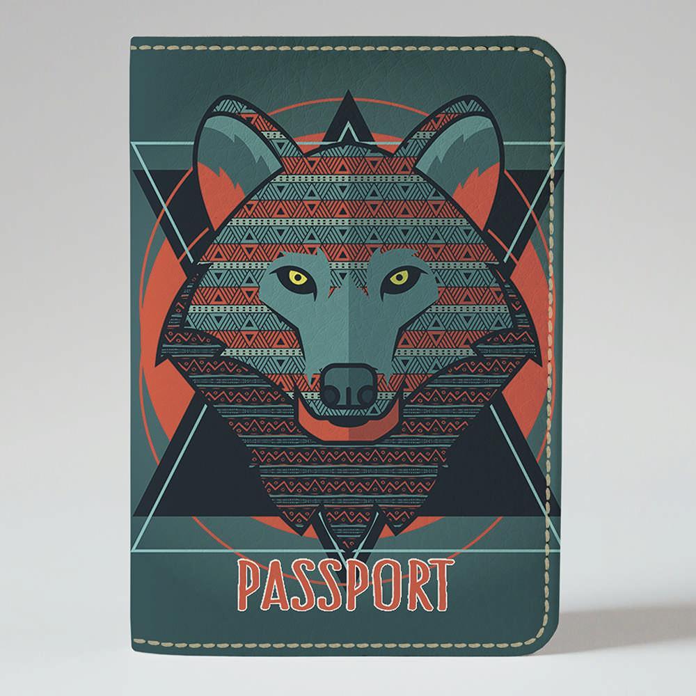Обкладинка на паспорт v.1.0. Fisher Gifts 822 Геометричний вовк (еко-шкіра)