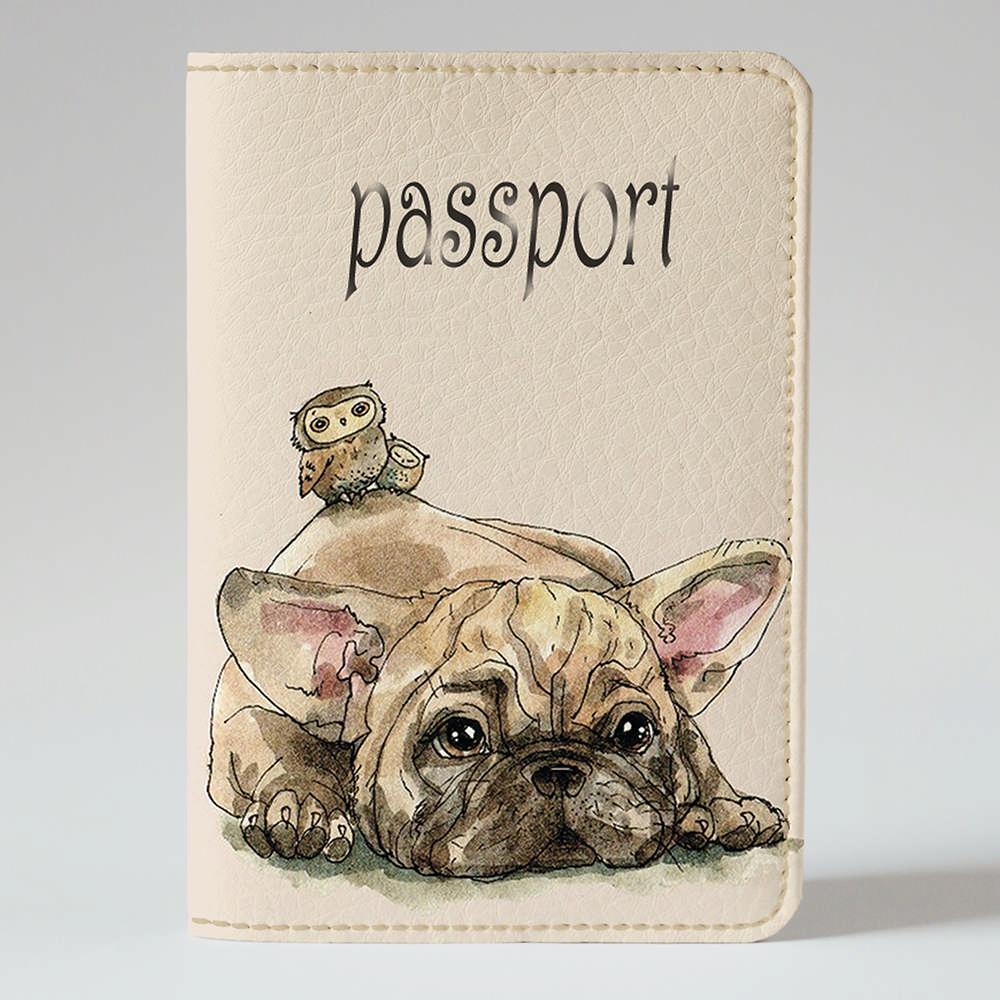 Обложка на паспорт Fisher Gifts 879 Сова верхом на щенке (эко-кожа)