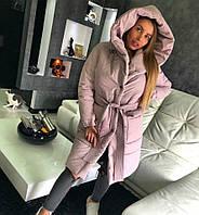 Женское зимнее плащевое пальто с капюшоном и под пояс 180250