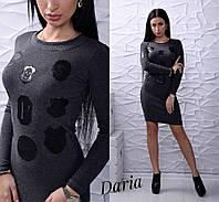 Приталенное платье с длинным рукавом с аппликацией из экокожи 5503858