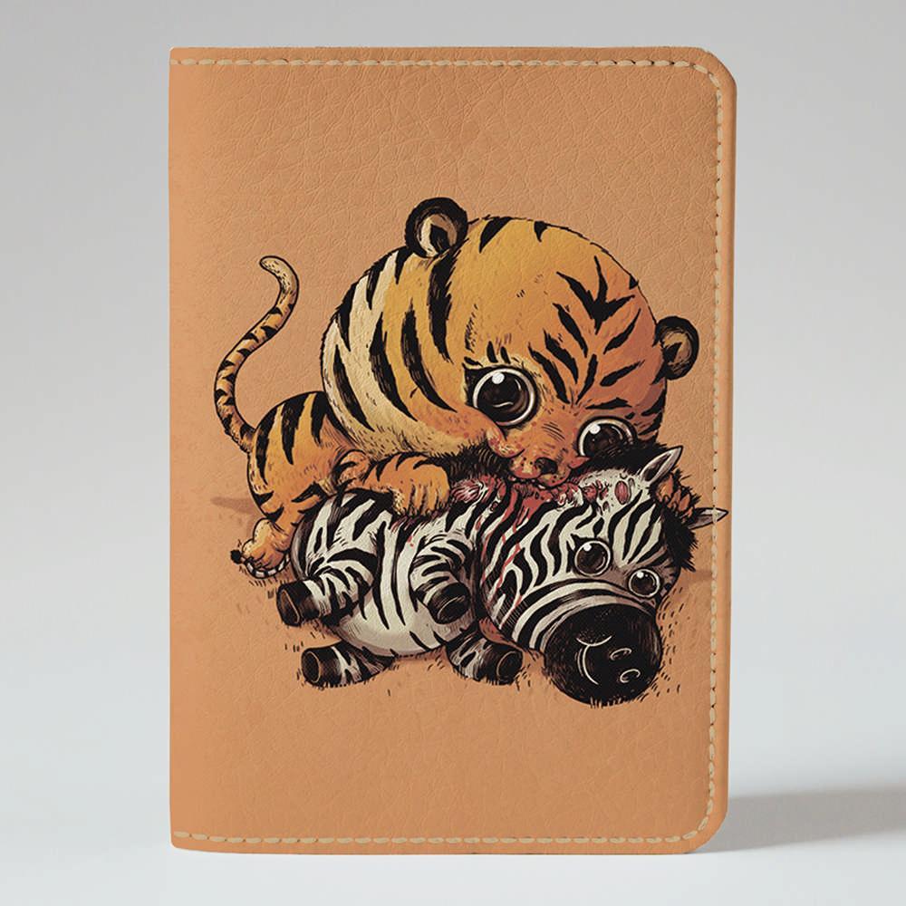 Обложка на паспорт v.1.0. Fisher Gifts 946 Тигр и зебра (эко-кожа)