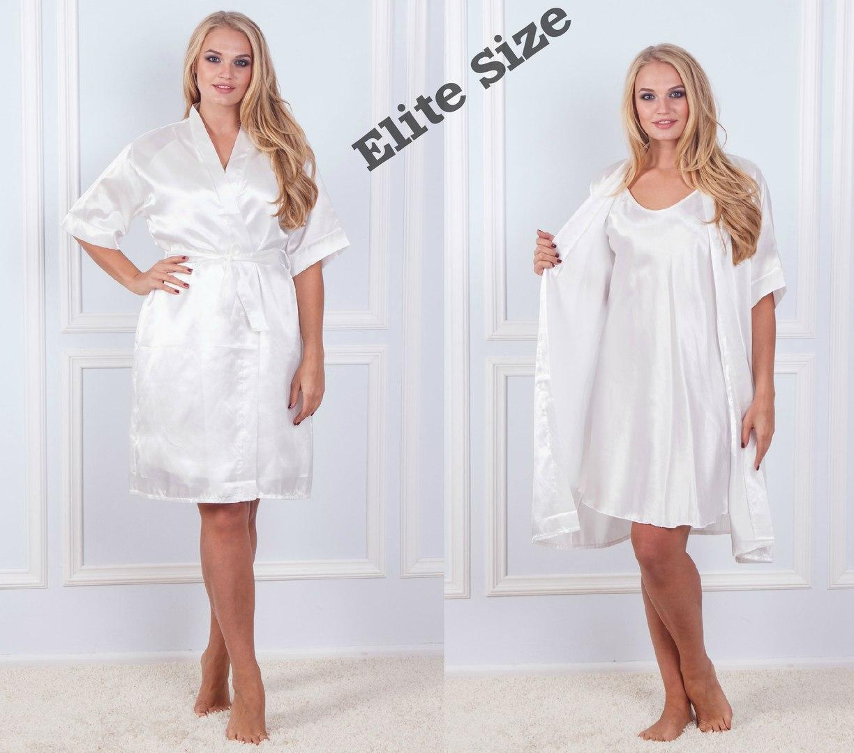Шелковый женский комплект ночнушка и халат 61920