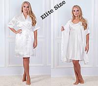 Шелковый женский комплект ночнушка и халат 61920, фото 1