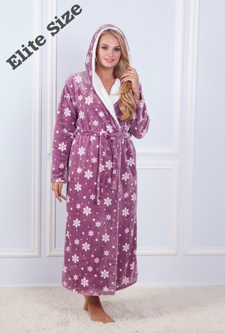 Длинный женский принтованный халат с капюшоном 61923