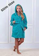Короткий женский халат с капюшоном и под пояс 61926, фото 1