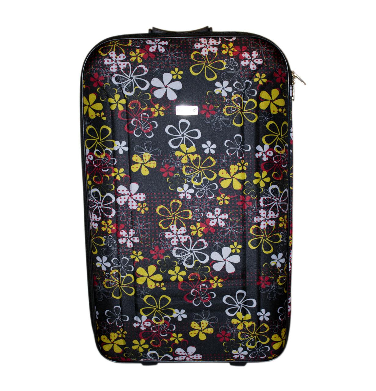 Дорожный чемодан 2 колеса (средний) чёрный с цветочками, артикул: 12126-680