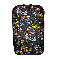 Дорожный чемодан 2 колеса (небольшой) чёрный с цветочками, артикул: 12126-680