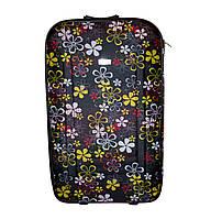 Дорожный чемодан 2 колеса (большой) чёрный с цветочками, артикул: 12126-680