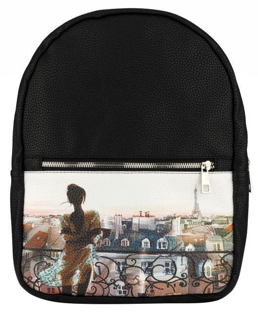 Женский рюкзак с рисунком девушки на балконе