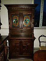 Буфет с витражами 19 век  из массива дерева