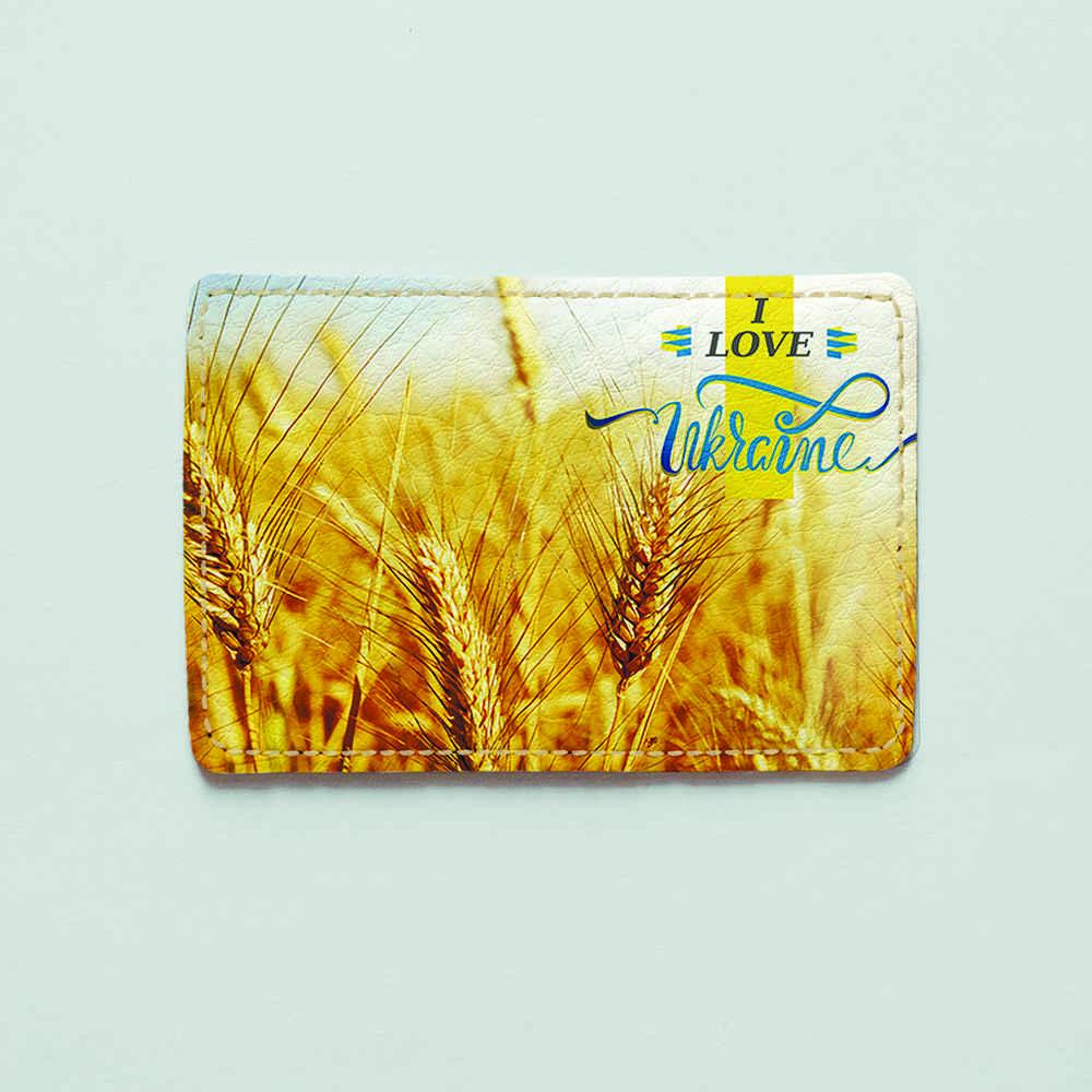 Картхолдер v.1.0. Fisher Gifts  11 I love Ukraine - пшеница (эко-кожа)