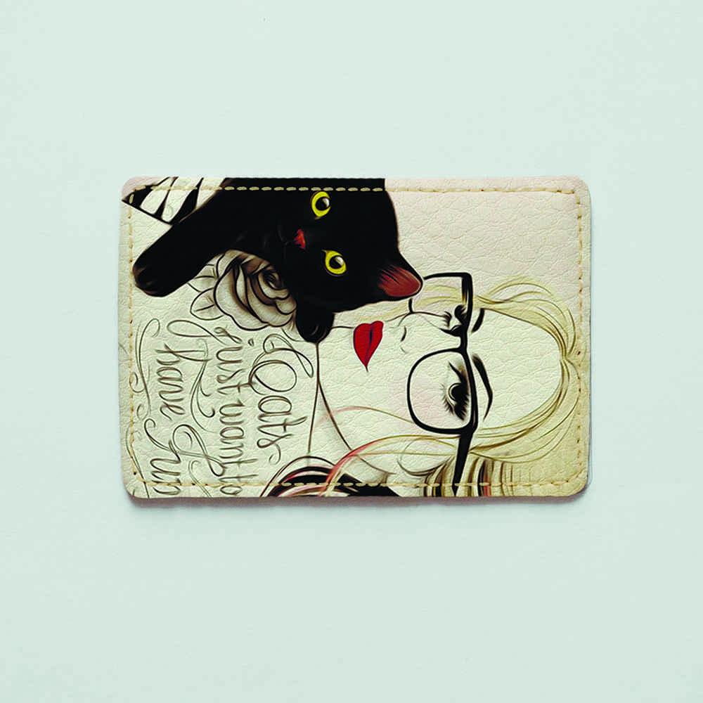 Обложка для id паспорта, карты, автодокументов 1.0 Fisher Gifts  25 Девушка с котиком (эко-кожа)