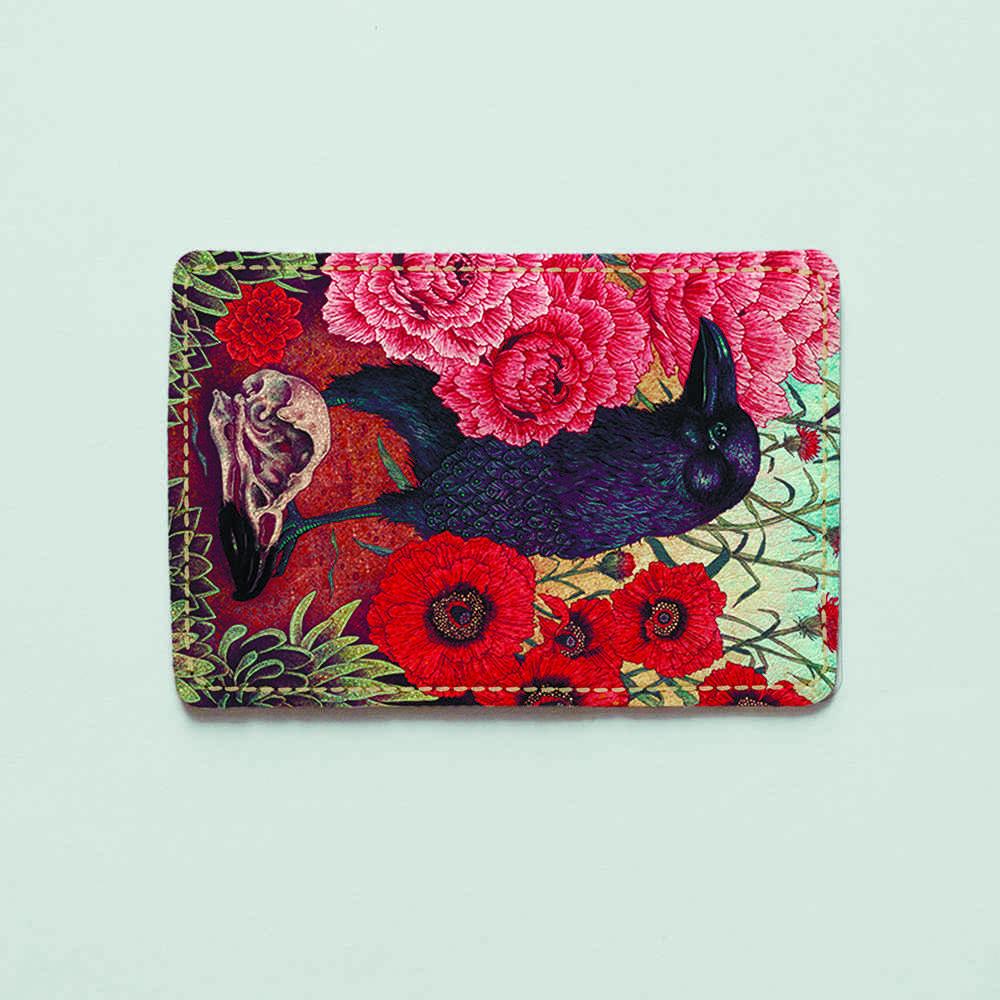 Обложка для id паспорта, карты, автодокументов 1.0 Fisher Gifts  35 Ворон и мак (эко-кожа)