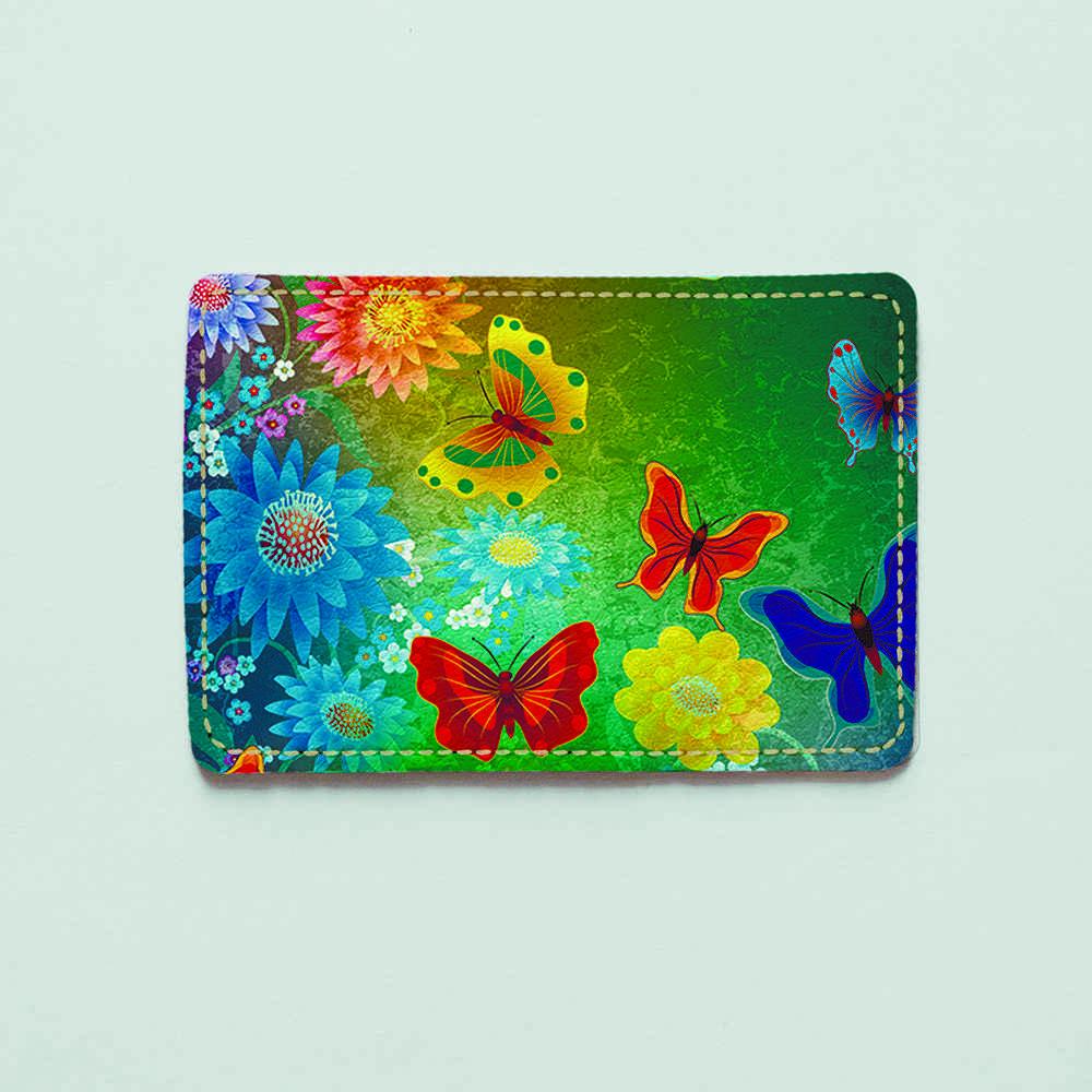 Картхолдер v.1.0. Fisher Gifts  92 Бабочки в цветах (эко-кожа)