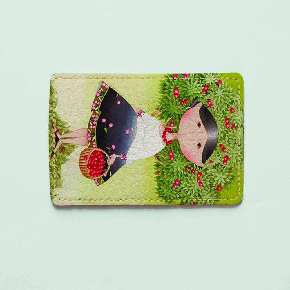 Картхолдер v.1.0. Fisher Gifts  122 Девушка с вишнями (эко-кожа)