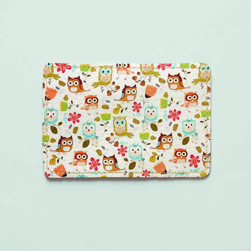 Обложка для id паспорта, карты, автодокументов 1.0 Fisher Gifts  188 Совушки с цветами фон (эко-кожа)