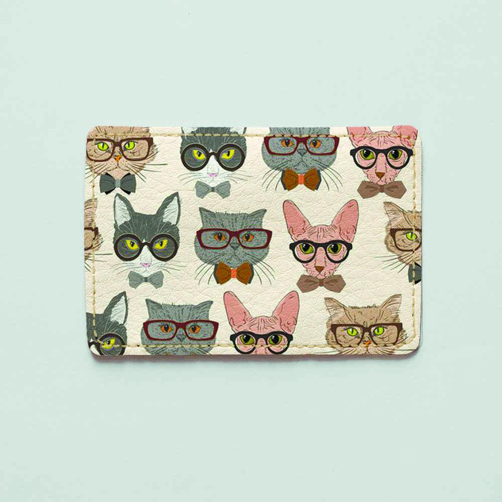 Картхолдер 1.0 Fisher Gifts 193 Коты в очках фон (эко-кожа)