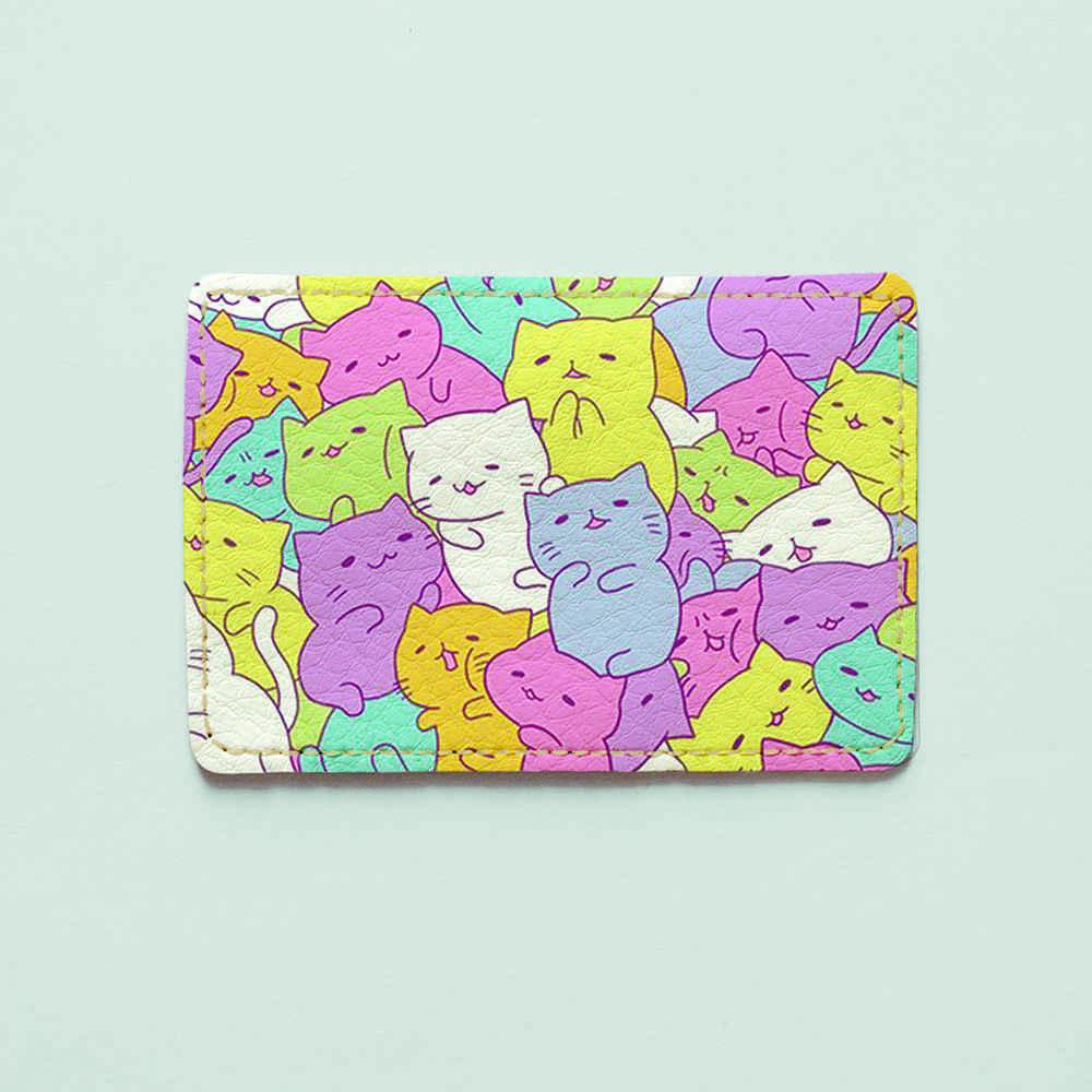 Картхолдер v.1.0. Fisher Gifts  194 Цветные котики фон (эко-кожа)
